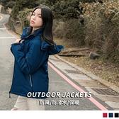 《KS0724-》防潑水鋪棉印花內裡反光條口袋抽繩衝鋒外套  OB嚴選