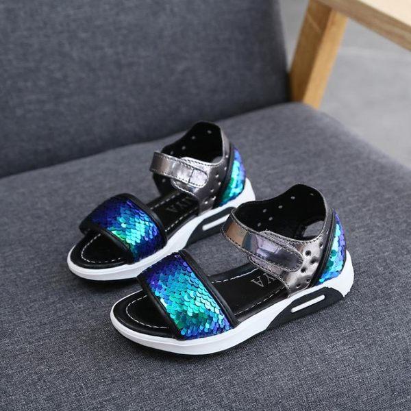 兒童女涼鞋新款正韓公主童鞋女孩軟底沙灘鞋【情人節禮物限時八折】