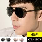 OT SHOP 太陽眼鏡 三線條鏡腿 男款偏光墨鏡 現貨 黑/金框全黑/銀框黑反光/玫瑰金 NT36