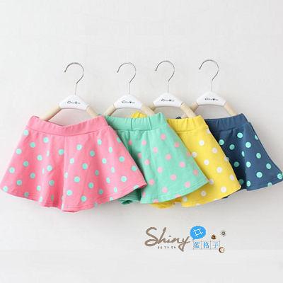 【R3838】shiny藍格子-嬰幼館.夏裝新款女童波點裙褲