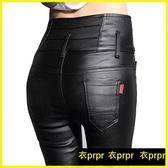 【YPRA】打底皮褲 加絨高腰外穿亞光磨砂緊身顯瘦彈力小腳打底褲