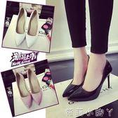 高跟鞋10cm黑色性感女士細跟尖頭鞋百搭單鞋女 全館免運