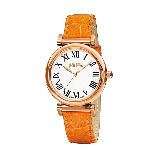 【Folli Follie】Obsession 羅馬時尚真皮腕錶-亮橘款/WF14R029SPS_OR/台灣總代理公司貨享兩年保固
