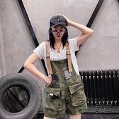 迷彩牛仔吊帶褲女2020歐貨新款韓版寬鬆顯瘦休閒減齡大兜闊腿短褲 雙十二全館免運