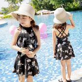館長推薦☛女童泳衣公主裙式中大童分體平角褲韓國新款寶寶可愛泳衣兒童女孩