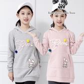 中大女童連帽小兔子口袋長版上衣*2色  [88101] RQ POLO 秋冬童裝