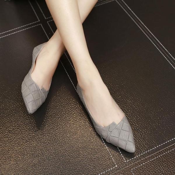 尖頭平底鞋淺口簡約平跟單鞋純色格子低跟女鞋潮  伊衫風尚