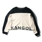 KANGOL 大學T 黑米 拼接 短版 棉 女 (布魯克林) 6052100101