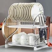 瀝水碗架雙層廚房置物架兩層放碗盤滴水碗碟架儲物架涼碗筷收納架 YDL