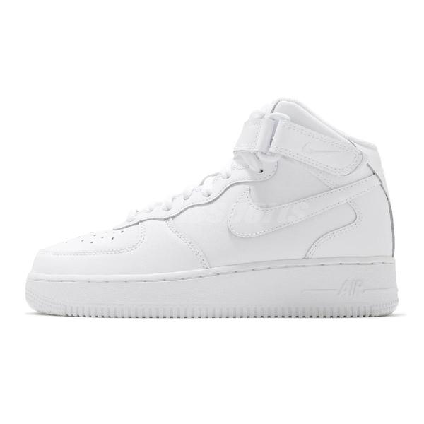 Nike 休閒鞋 Air Force 1 Mid GS 白 全白 復古 運動鞋 中筒 女鞋 大童鞋【ACS】 314195-113