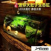 烏龜缸 小魚缸生態桌面魚缸水族箱迷你客廳大小型創意魚缸辦公室mini水族箱 酷男