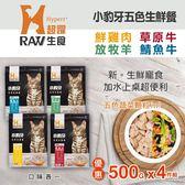 【毛麻吉寵物舖】HyperrRAW超躍 小豹牙五色生鮮餐 綜合口味 500克 四件組