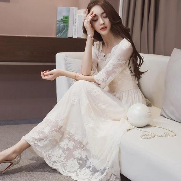 長洋裝 蕾絲伴娘短袖白色 韓版 婚禮小禮服 連身長裙 花漾小姐【預購】