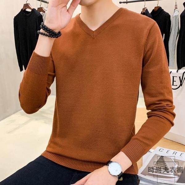 毛衣男薄款V領針織衫純色打底衫長袖上衣【時尚大衣櫥】