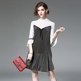 洋裝-喇叭袖針織拼接條紋荷葉邊女連身裙73of196[巴黎精品]