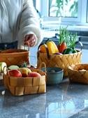 果籃 編織創意雙耳桌面收納籃子 家用客廳餅幹筐麵包籃杉木水果籃 秒殺價 【雙十二狂歡】