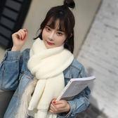 現貨毛線針織圍巾女士冬季白色圍巾長款加厚韓版百搭學生純色棉麻圍脖  白色 僅此一件 1-17