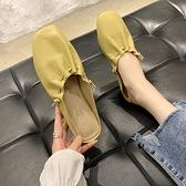 平底半拖鞋穆勒鞋顯白2021春夏季新款包頭褶皺奶奶鞋半托單鞋女 寶貝計畫