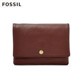 FOSSIL AUBREY 酒紅色金釦設計零錢短夾 SL7812227