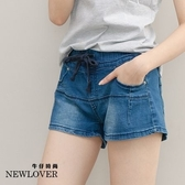 變體綁帶牛仔短褲NEWLOVER牛仔時尚【111-5814】休閒款變體綁帶牛仔短褲-S-XL