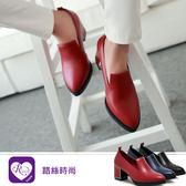 韓系必備單品素面尖頭方跟鞋/3色/35-43碼 (RX1285-010) iRurus 路絲時尚
