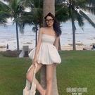 一字領洋裝 海邊度假一字肩抹胸性感連身裙超仙甜美氣質花苞收腰蓬蓬裙女夏季