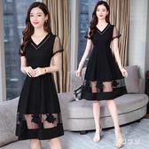 新款大碼洋裝 夏裝韓版連身裙子女遮肚顯瘦寬鬆時尚氣質 yu3774『夢幻家居』