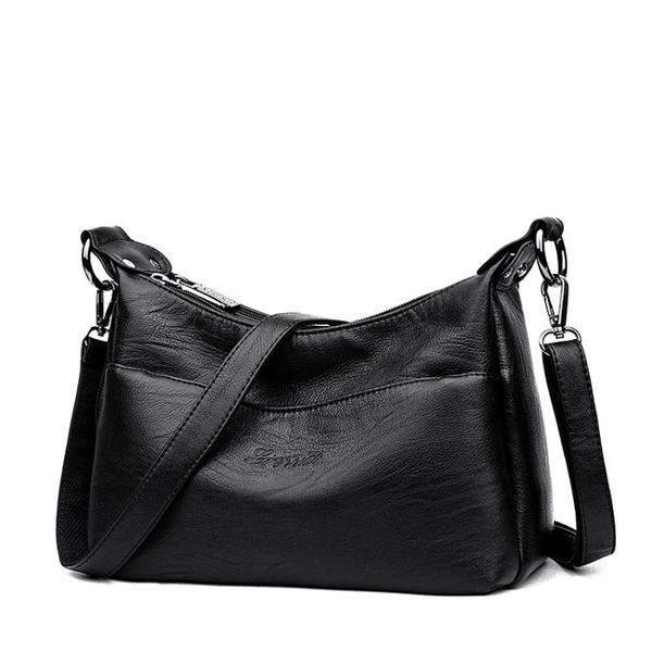 側背包中年女包媽媽包斜背包女士包包軟皮百搭單肩包大容量 琉璃美衣