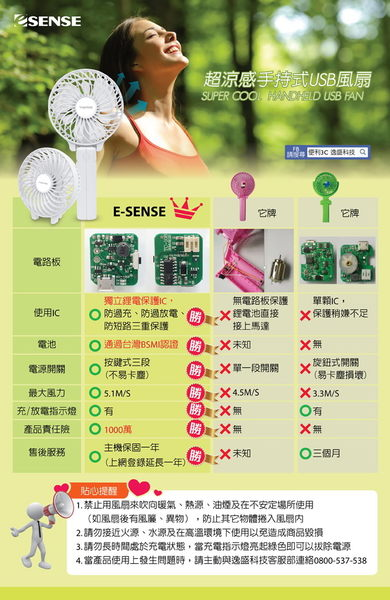 Esense 超涼感 手持式 USB風扇 產品型號:22-UFC100 BK / BL / PK / WH