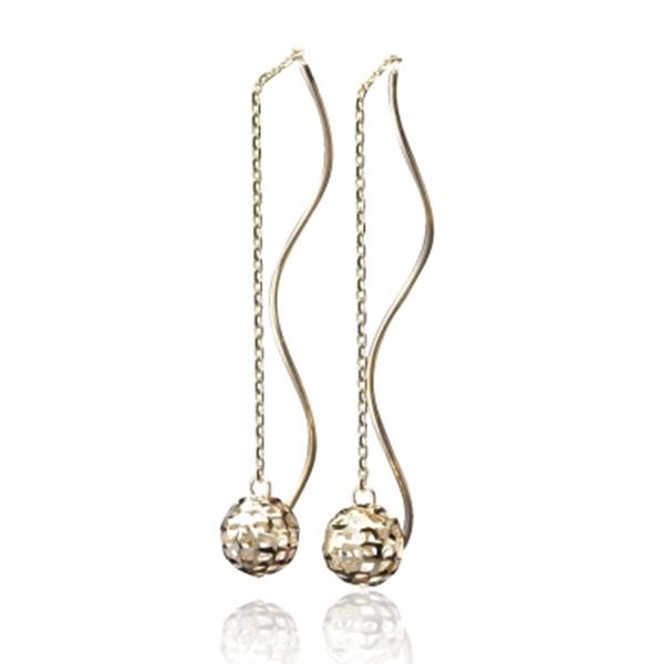 【LECRIN翠屋珠寶】義大利14K金耳環-黃K金垂式鏤空球