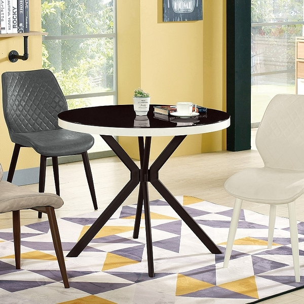 【森可家居】妙蛙3尺黑玻圓桌(不含椅) 10ZX687-2 咖啡桌 接待桌 洽談桌