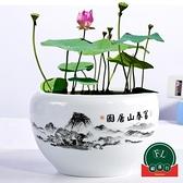 大號陶瓷花盆水培器皿水養植物睡蓮盆缸銅錢草荷花【福喜行】