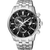 CITIZEN GENTS 光動能萬年曆腕錶-黑x銀/41mm BL8140-80E
