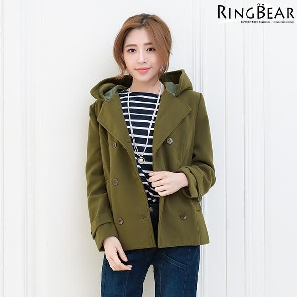 毛呢外套--時尚英倫風氣息雙排釦縮腰袖環帶雙口袋連帽毛呢外套(黑.粉.綠M-3L)-J211眼圈熊中大尺碼