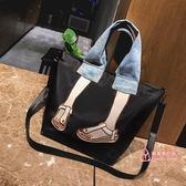 尼龍手提包 大包包女包2019新款韓版時尚刺繡拼接手提包尼龍布休閒單肩斜背包 2色
