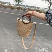 草編包編織包沙灘包木質圓把簡約百搭麻編單肩斜背女包 嬡孕哺