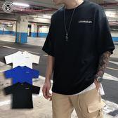 【YIJIAYI】LA 印花LOGO 街頭 寬鬆 落肩 素色 短袖 T恤 短T (K廠)(KTP180)