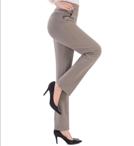 中年女士休閒長褲子薄款春秋裝中老年寬鬆媽媽鬆緊腰直筒女褲