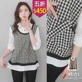 【五折價$450】糖罐子襯衫領拼接格紋單口袋假兩件上衣→黑白格 現貨【E54757】