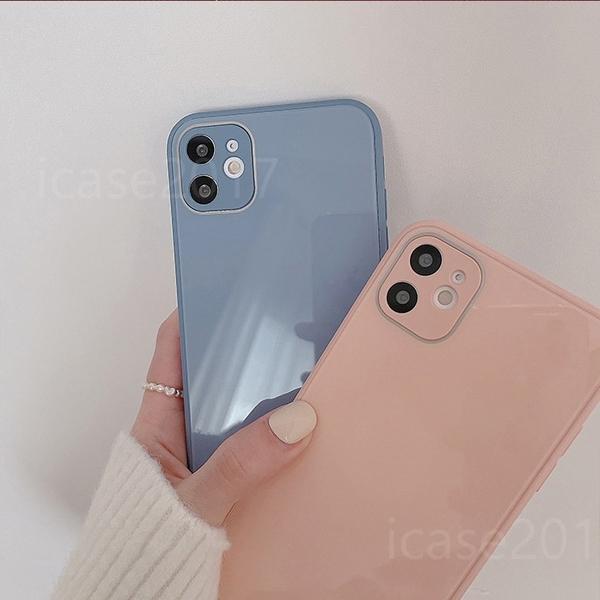純色玻璃殼 iPhone SE2 XS Max XR i7 i8 plus 玻璃背板手機殼 防摔軟框 全包邊素殼 防摔殼
