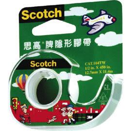[奇奇文具]【3M Scotch 隱形膠帶】3M 105 3/4吋 隱形膠帶(附輕便膠台)
