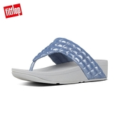 推薦7折【FitFlop】LULU PADDED SHIMMYSUEDE TOE-THONGS經典寬版夾腳涼鞋-女(藍色)