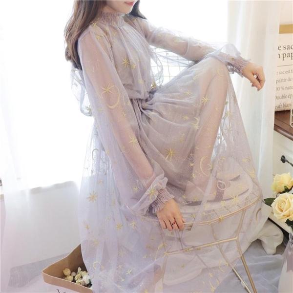 春夏季新款甜美淑女學生氣質星空刺繡網紗吊帶洋裝套裝仙女