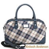 【Kinloch Anderson 金安德森】波士頓包 懷特島旅行 經典格紋手提肩背2Way-蔚海藍