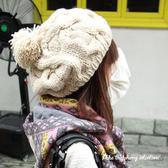 大貝雷麻花球造型毛帽【櫻桃飾品】【20859】