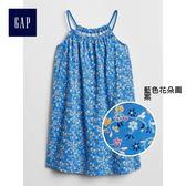 Gap女嬰幼童 印花掛脖圓領無袖洋裝 307070-藍色花朵圖案
