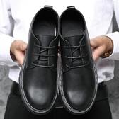 春秋季皮鞋男韓版潮流休閑透氣鞋子男學生黑色小皮男鞋英倫馬丁靴 【快速出貨】