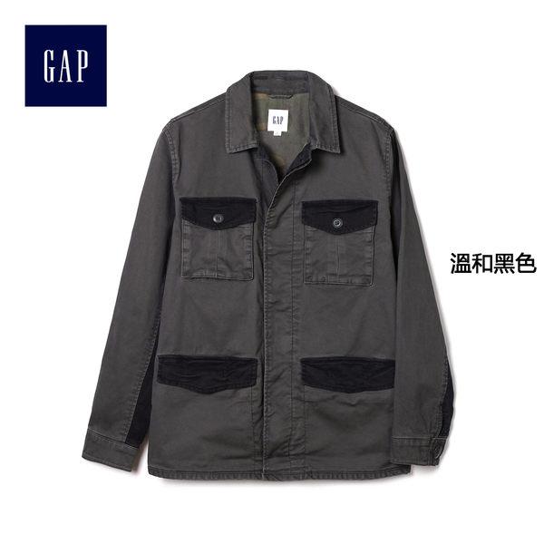 Gap男裝 舒適純棉拼色野戰長袖夾克 228390-溫和黑色
