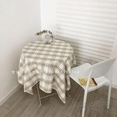 棉麻淺咖色桌布格子韓國ins田園卡其色同款餐墊拍照背景 夏季狂歡