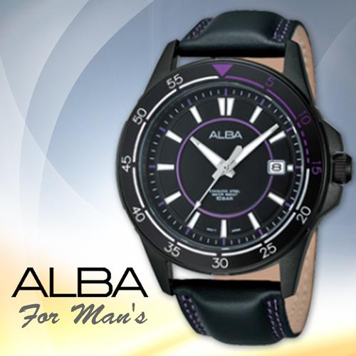 CASIO手錶專賣店 SEIKO ALBA 亞柏 AS9261X1 皮革錶帶 黑紫時尚不鏽鋼男錶 防水100米